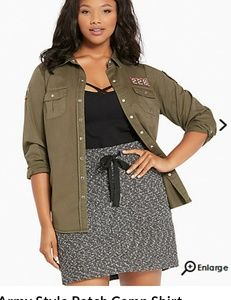 Torrid 00 Size 10 Olive Camp Army Shirt New